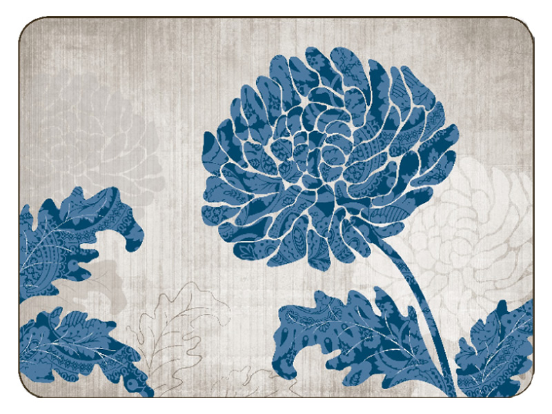 Jason Placemats Chrysanthemum Blue Corkbacked Place Mats