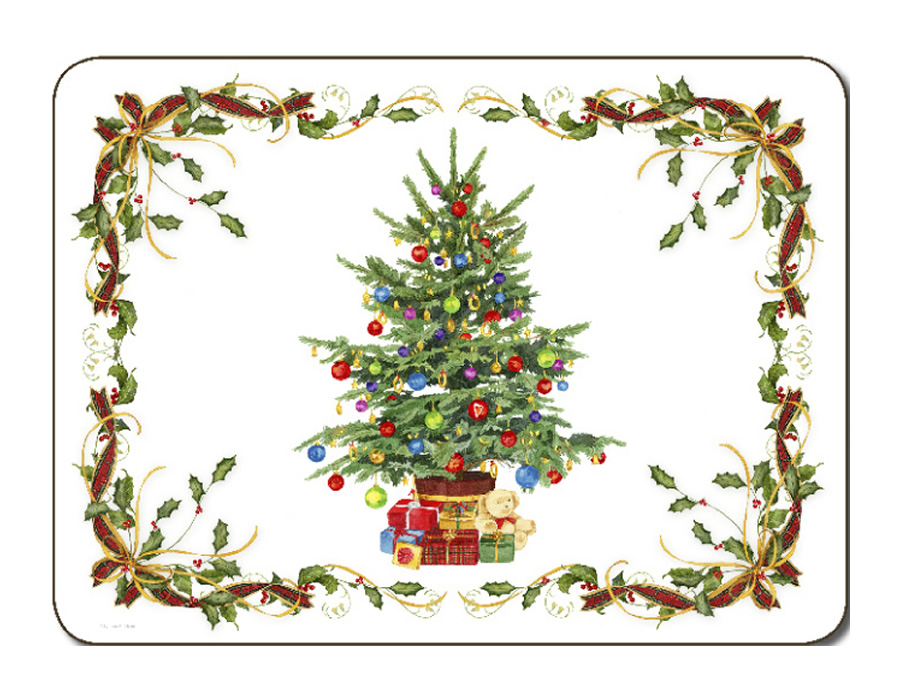 Placematscom Jason Bordered Christmas Tree Placemats