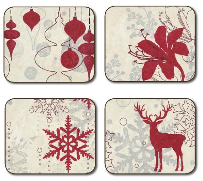 Jason Placemats, Red Christmas design, hardboard place ...