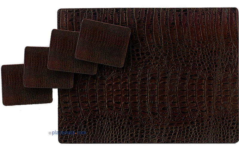 Placematscom Lady Clare Brown Leather Placemats