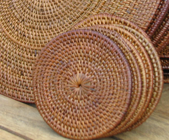 Natural Placemats Coasters 6 Round