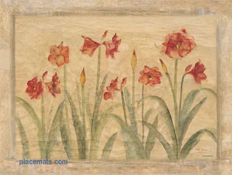 Pimpernel Placemats Amaryllis Cork Backed Place Mats