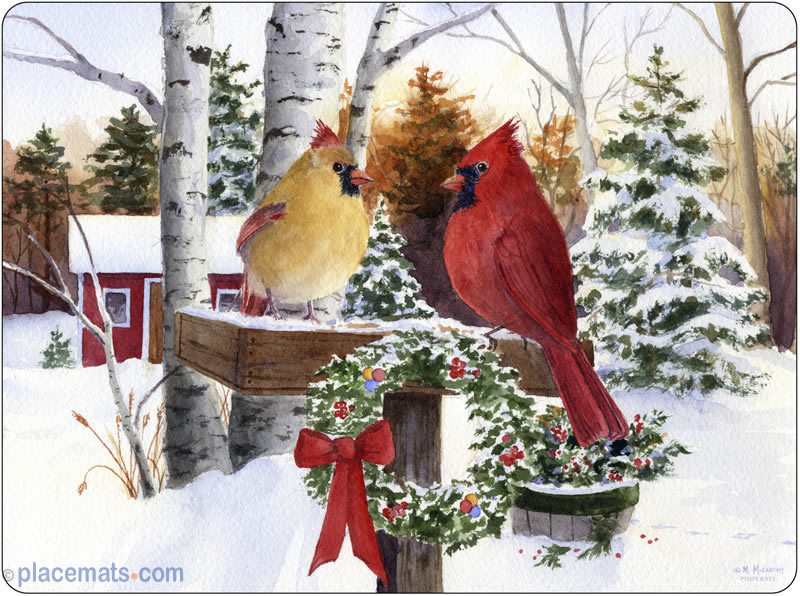 Image result for cardinal xmas scene