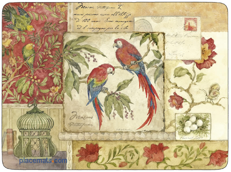 Pimpernel Placemats Exotic Birds Cork Backed Place Mats