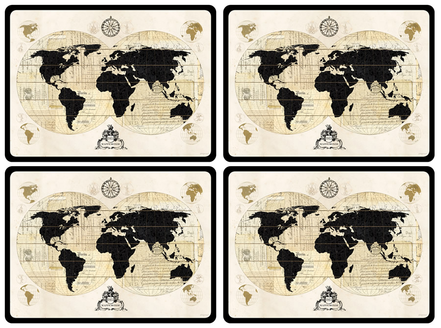 Pimpernel Placemats Vintage World Map Corkbacked Place Mats